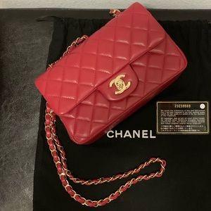 Chanel Lambskin mini rectangular flap dark pink